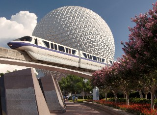 Photo of EPCOT Spaceship Earth and Monorail goes here.