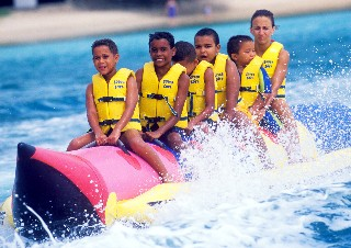 Photo of banana boat ride in St. Lucia goes here.