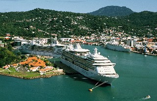 Photo of Castries harbor and cruise ships goes here.