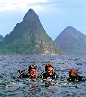 Photo of divers in front of the Pitons goes here.