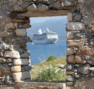 An Oceania ship is shown in Greece.