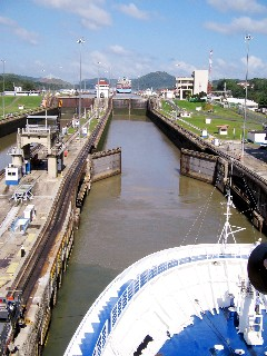 Photo of ship entering the first lock goes here.