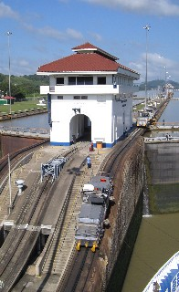 Photo of Miraflores Lock building and grade goes here.