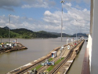 Photo of exit from the Miraflores Locks goes here.
