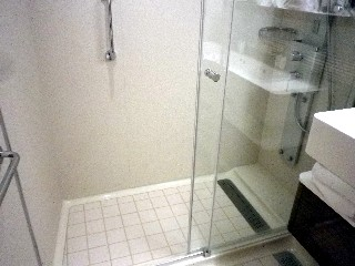 Photo of shower in balcony cabin goes here.*