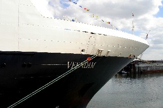 Photo of the Veendam's bow goes here.