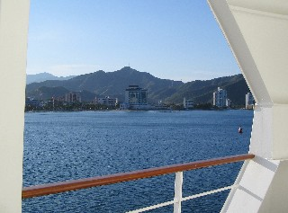 Photo of Santa Marta from a cruise ship balcony goes here.
